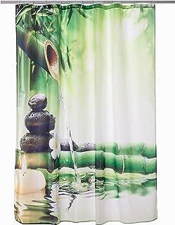 Alicemall Cortina de Ducha Estampado Zen 180x180cm Agua Cortina Impermeable y Mohoso Bañera Cortina Accesorios de Baño Cortina de Baño con 12 Ganchos