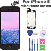 for iPhone 5 Screen Replacement with Home Button Black, Arotech 4.0 Inch Full Assembly LCD Display Digitizer Touch Screen with Repair Tool Kit and Tempered Glass