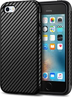 Tasikar iPhone SE Case Good Protection Carbon Fiber Leather Design Cover Case for iPhone SE iPhone 5S 5 (Black)