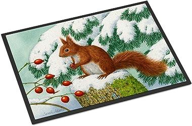 "Caroline's Treasures ASA2172MAT Winter Red Squirrel Indoor or Outdoor Mat, 18"" x 27"", Multicolor"