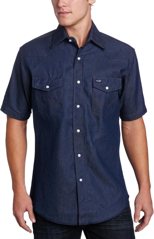 Wrangler Men's Western Short Sleeve Snap Work Shirt