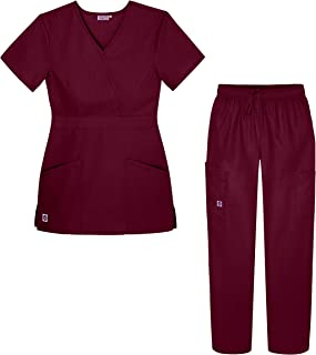 Women's Scrub Set - Multi Pocket Cargo Pants & Stylish Mock Wrap Top (Available in 15 Colors)