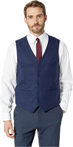 Slim Fit Washable Plaid Suit Vest