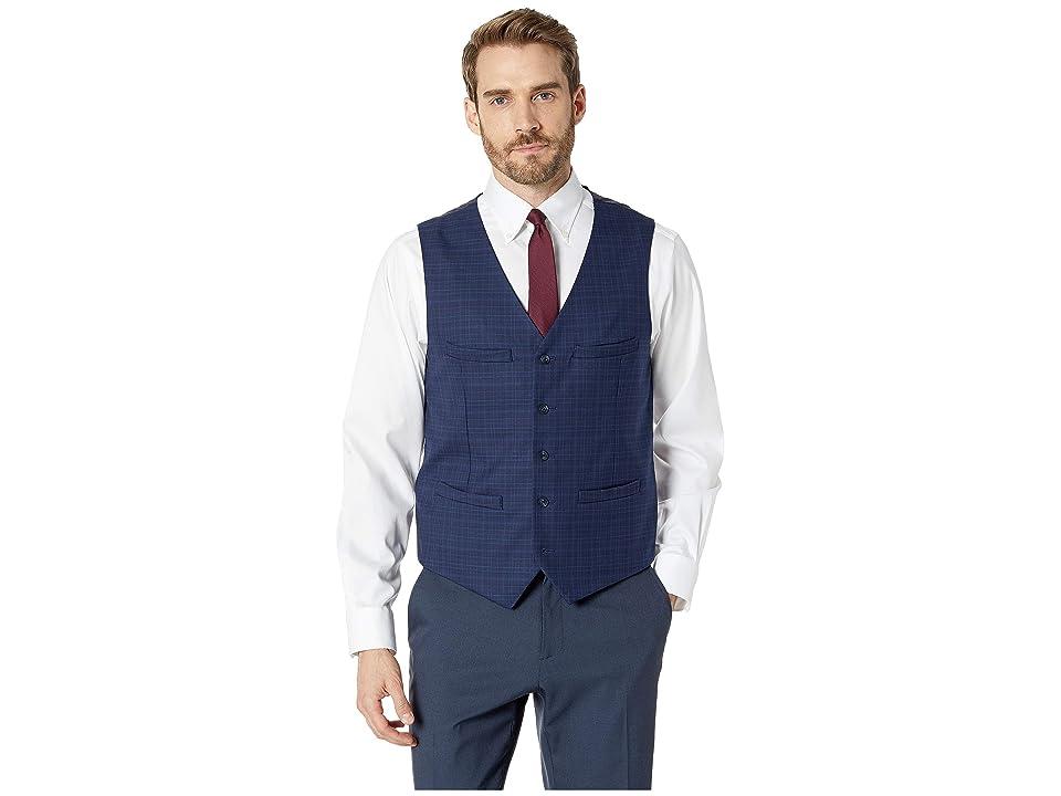Perry Ellis Slim Fit Washable Plaid Suit Vest (Navy) Men