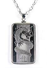 PAMP SUISSE Sterling Silver 925 Necklace Bezel Chain with Solid Silver Bar 999 Dragon (Green Box)