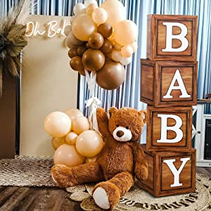 Baby Shower Boxes for Birthday Party Decorations - 4 Wood Grain Brown blocks with BABY Letter,Printed Letters,First Birthday Centerpiece Decor, Teddy Bear Baby Shower Supplies, Gender Reveal Backdrop