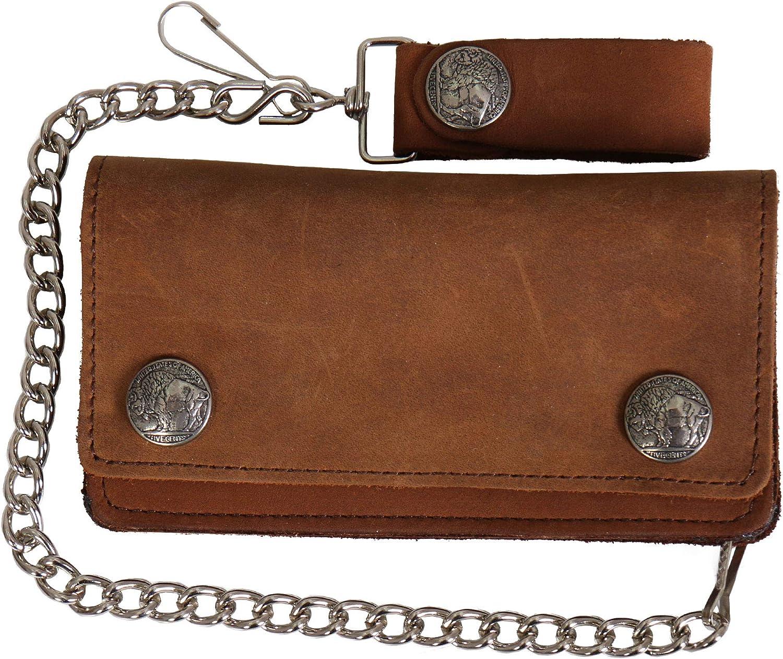 Hot Leathers Unisex-Adult Buffalo Nickel Bifold Wallet (Brown, 6