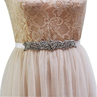 TOPQUEEN Women's Wedding Sash Belt Crystal Diamond Bridal Belt Sashes Wedding Belts Sash for Wedding