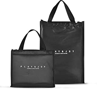 Pack of 2 Insulated Lunch Bag for Women Men, Stylish Lunch Tote Bag, Medium + Large Handbag with Zipper Lunch Box for Wor...