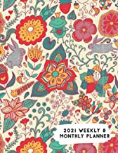 2021 Weekly & Monthly Planner: Funky Frog Rabbit & Flowers Calendar & Journal