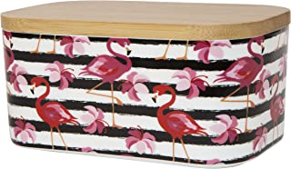 Large Ceramic Butter Dish With Lid, Porcelain Airtight Butter Keeper Fits 2 Butter Sticks, European Holder For Countertop Double Storage Container Box With Covers & Tray Red Pink & Black Flamingo
