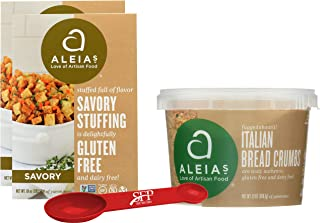 Gluten Free Variety Pack Includes: (2) Aleias Gluten Free Savory Stove Top Stuffing Mix, 10 Oz. (1) Aleias Gluten Free Bread Crumbs. Italian Breadcrumbs, 13 Oz. With a Bonus Measuring Spoon Included.