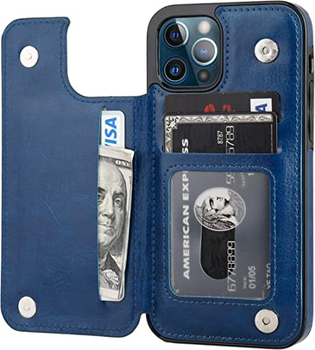 ONETOP Compatible with iPhone 12 Compatible with iPhone 12 Pro Wallet Case with Card Holder, PU Leather Kickstand Car...