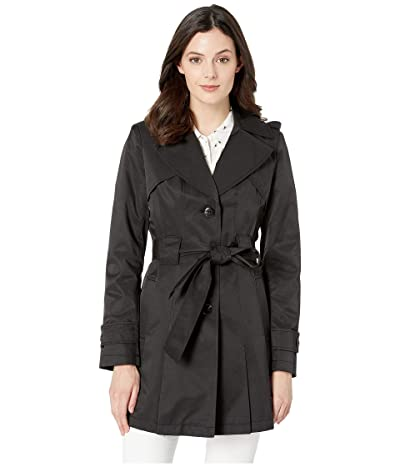 Via Spiga Single Breasted Hooded Belted Trench (Black) Women