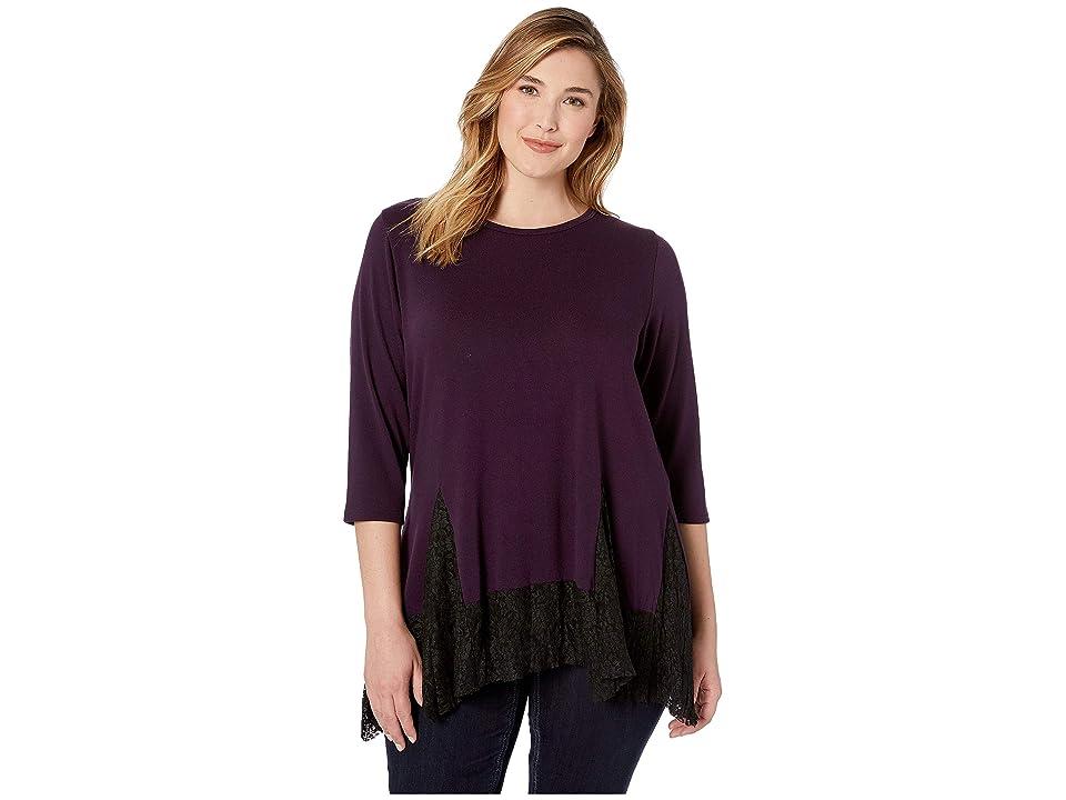 Karen Kane Plus Plus Size Lace Inset Sweater (Eggplant) Women