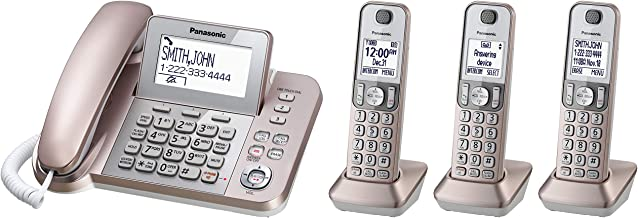 $109 » PANASONIC Corded/Cordless Phone System with Answering Machine and One Touch Call Blocking – 4 Handsets - KX-TGF353G2 (Rose...