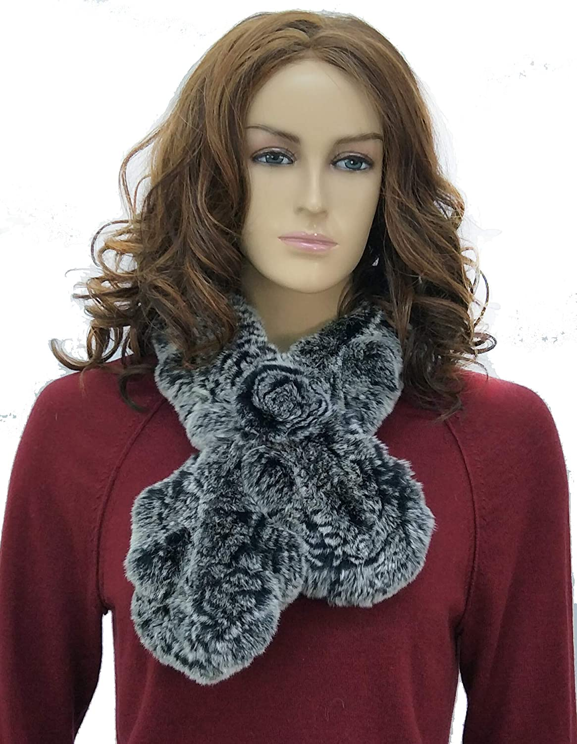 Rex Rabbit Fur Ruffled Knitted Scarf With pinktte