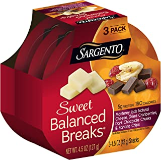 Sargento Sweet Balanced Breaks with Monterey Jack Natural Cheese, Dried Cranberries, Dark Chocolate Chunks & Banana Chips, 1.5 oz, 3-Pack