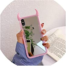 3D Cute Little Devil Horn Case for iPhone X Xs 10 6 6s 7 8 Plus Make up Mirror Hard Phone Case for iPhone Xs Max XR 8Plus Cover,Pink,for iPhone Xs Max