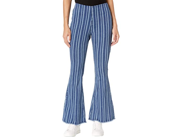Rock and Roll Cowgirl WPH7544 Striped High-Rise Flare in Medium Wash