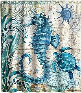 Blue Sea Turtle and Sea Horse Beach Theme Fabric Shower Curtain Sets for Ocean Bathroom Decor with Hooks Waterproof Washab...