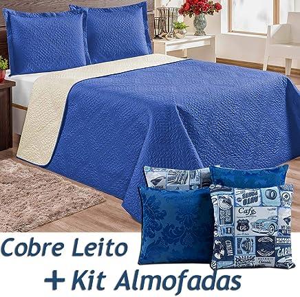 37b8164b7f Kit Cobre Leito c  4 Almofadas Cheias Vicenza Azul Solteiro Dupla Face 06  Peças