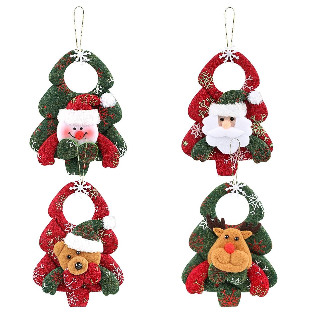 キャンパス一月連帯Kesote クリスマス飾り クリスマスツリー飾り 壁掛け 玄関掛け 装飾 ストラップ 置物 4個入り 約17cmx12cm 熊 サンタクロース 雪だるま トナタ パーディー プレゼント