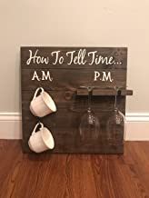 CELYCASY How to Tell time Coffee and Wine Wood Sign Kitchen Sign Home Decor Coffee bar Farmhouse Style Decor Dorm Decor Coffee Lover Wine Lover