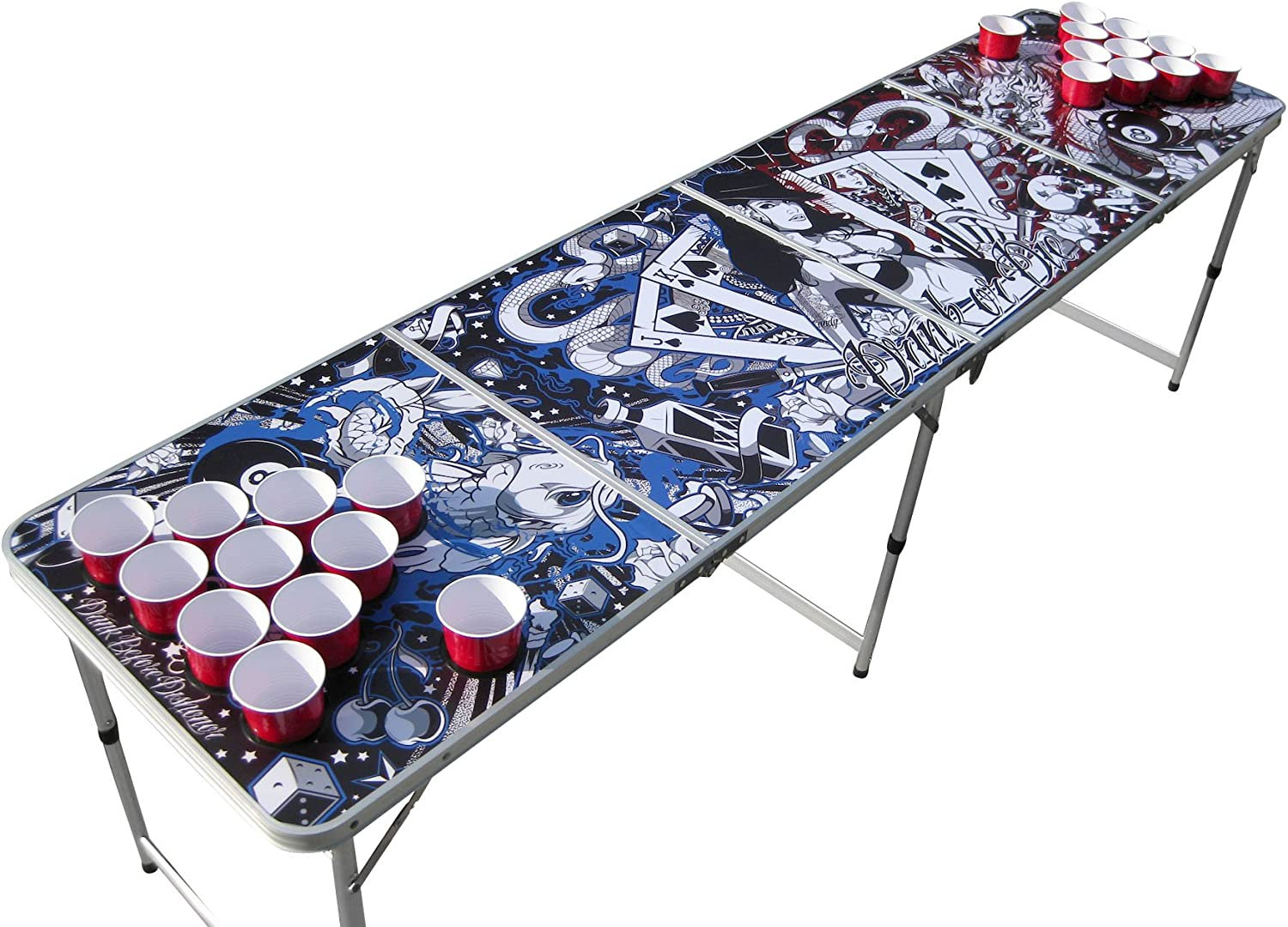 Tattoo Portable Beer Pong with Classic Holes Table Ranking TOP4