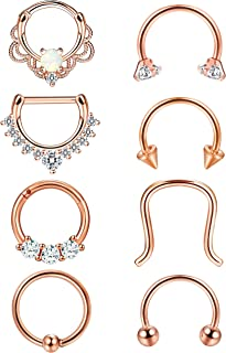2-8PCS 16G Stainless Steel Nose Ring Septum Hoop Opal Body Piercing Clicker Ring