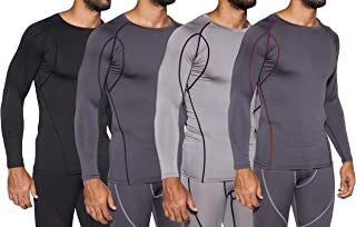 4 Pack: Men's Compression Top Long Sleeve Shirt Base Layer Active Athletic Sports T-Shirts