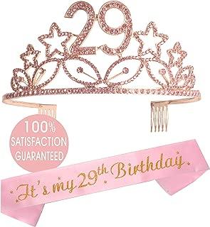 29th Birthday Tiara and Sash, Happy 29th Birthday Party Supplies, It's my 29th birthday Black Glitter Satin Sash and Crystal Tiara Birthday Crown for 29th Birthday Party Supplies and Decorations (Tiar