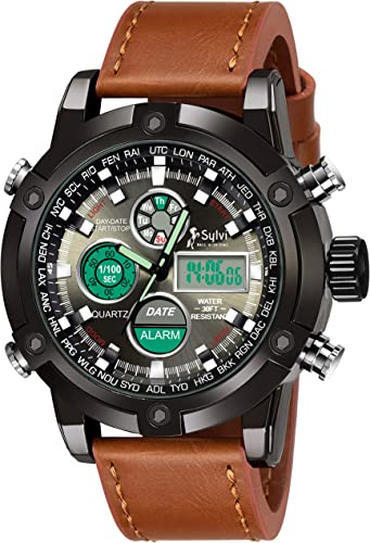 Vogue Style Brown Leather Strap Analog Digital Men s Sports Wrist Watch