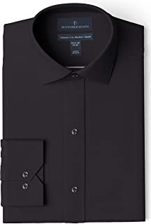 Amazon Brand - BUTTONED DOWN Men's Tailored Fit Spread-Collar Solid Pinpoint Dress Shirt, Supima Cotton Non-Iron
