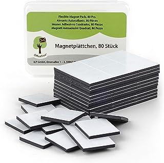 OfficeTree® - 80 láminas de imán, 20 x 20 mm, autoadhesivas para una imantación fiable de carteles, fotos o papel, fuerza de adhesión extra fuerte en pizarras blancas imantadas, color negro