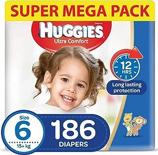 HUGGIES Ultra Comfort Diapers, Size 6, Jumbo Pack, 15+ kg, 186 Diapers