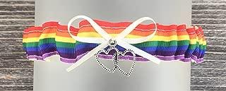 SEXY Ivory Rainbow Wedding Tossing Demi Bridal Garter - Double heart Charm