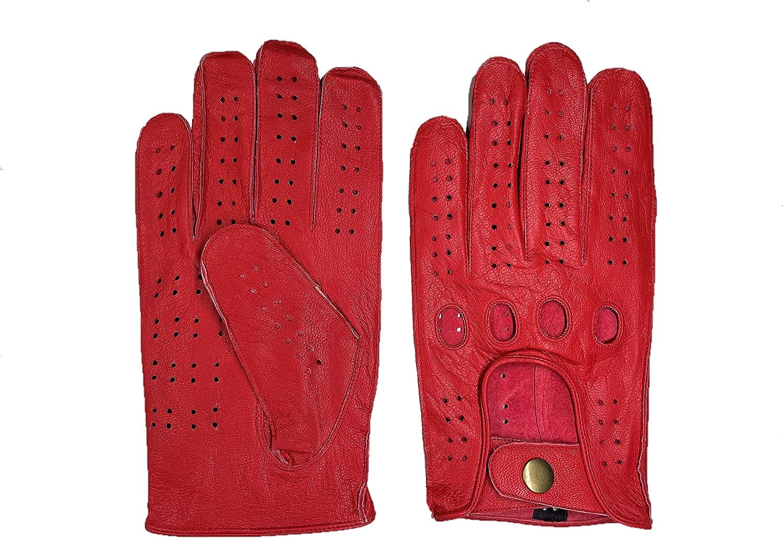 Deerskin Chauffeur Driving Gloves - Red