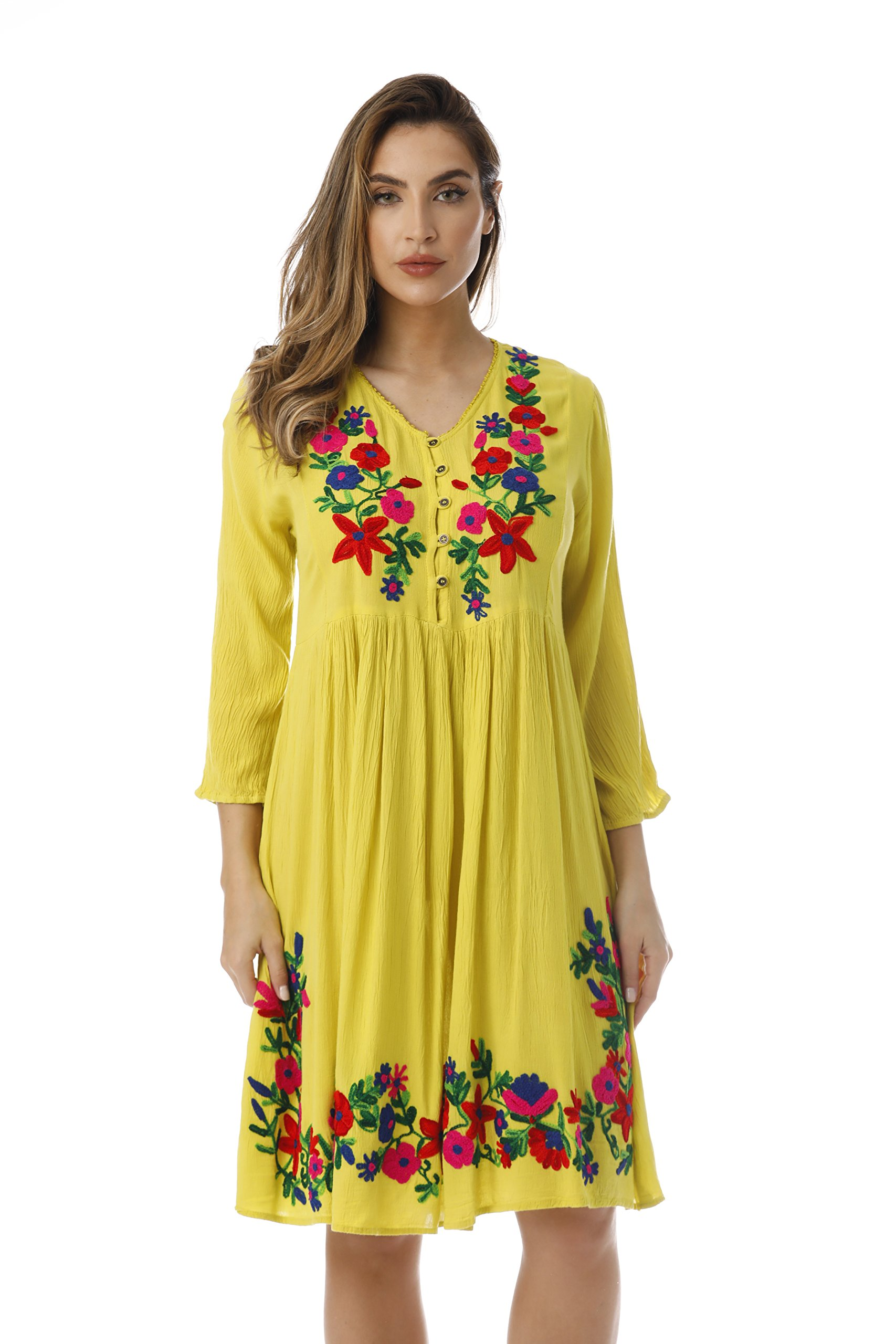 Available at Amazon: Riviera Sun Floral Embroidered 3/4 Sleeve Button Front Empire Waist Dress