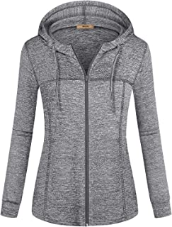 Womens Zip Up Long Sleeve Running Thin Jacket Sport Workout Hoodie