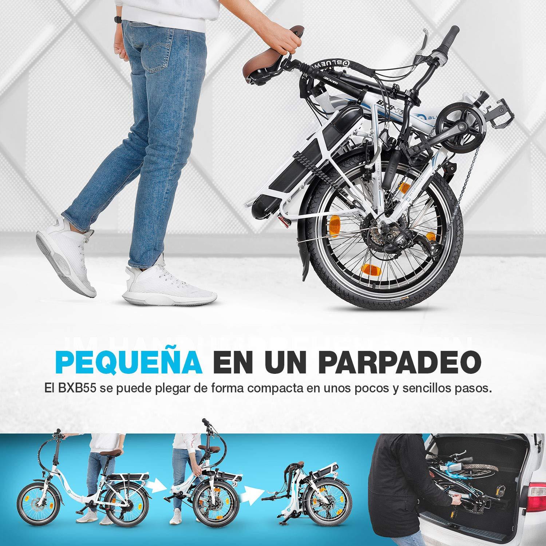 Bluewheel Bicicleta eléctrica de 20 Pulgadas Plegable 14,4/16Ah -Marca de Calidad Alemana- Pedelec Conforme a Normas EU, Incl. App, Motor de 250W, batería Iones de Litio, e-Bike BXB55, 7 velocidades: Amazon.es: Deportes