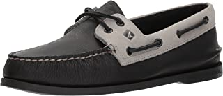 Sperry Men's A/O 2-Eye Daytona Boat Shoe, Black/Grey, 13 Medium US
