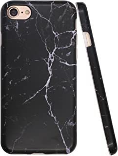 A-Focus Case for iPhone 8 Black Case, iPhone 7 Case Marble Pattern, Stone IMD Anti Scratch Anti Finger Slim Fit Flexible Rubber Cover Case for iPhone 7 iPhone 8 4.7 inch Matte Black
