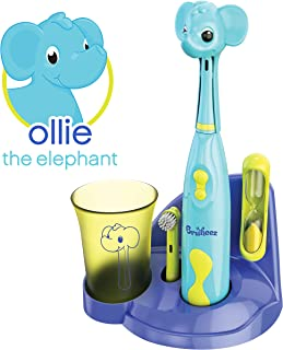 Brusheez Kid's Electric Toothbrush (Safari Edition) Set - Soft Bristles, Easy-Press Power Button, 2 Brush Heads, Cute Animal Cover, Sand Timer, Rinse Cup & Storage Base - Ollie The Elephant