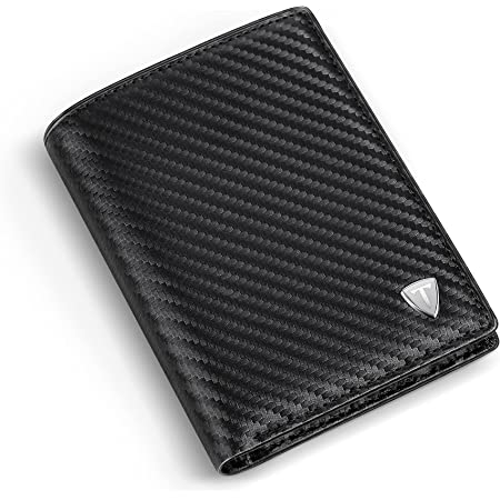 Wallets Mens RFID Blocking Carbon Fibre Leather, Mens Wallets with 9 Credit Card Holders, 1 ID Windows, Coin Pocket, 2 Banknote Compartments, Minimalist Bifold Wallets with Gift Box- Black