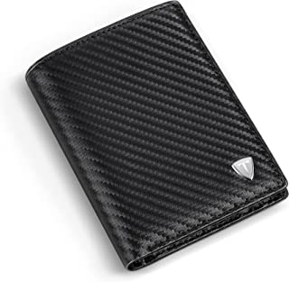 Wallets Mens RFID Blocking Carbon Fibre Leather, Mens Wallets with 9 Credit Card Holders, 1 ID Windows, Coin Pocket, 2 Ban...