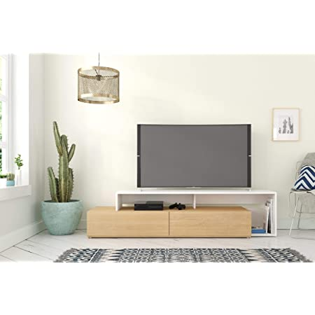 Nexera Tonik, Natural Maple & White 72-inch TV Stand, Maple Laminate and White Melamine
