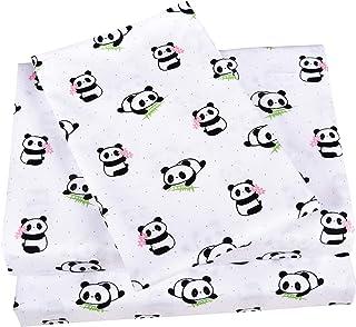 Scientific Sleep Cute Panda Cotton Cozy Twin Bed Sheet Set, Flat Sheet & Fitted Sheet & Pillowcase Natural Bedding Set (13, Twin)