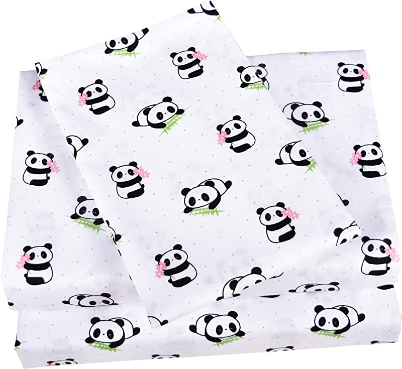 Scientific Sleep Cute Panda Cotton Cozy Twin Bed Sheet Set Flat Sheet Fitted Sheet Pillowcase Natural Bedding Set 13 Twin