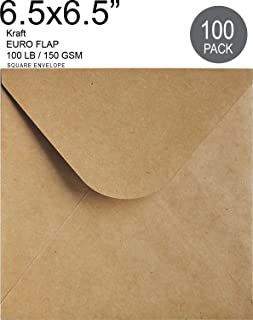 6-1/2 x 6-1/2 Square Kraft Envelopes Flapflop (100 Pcs) - Best for Thank You Notes, Greeting Cards, Weddings, Invitation | 100lb. Paper
